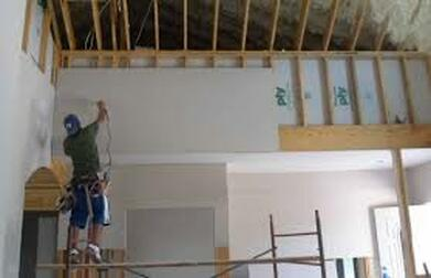 Picture of drywall hanging crew in peoria, il.