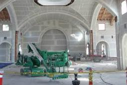 picture of drywall hanging and finishing in a church.